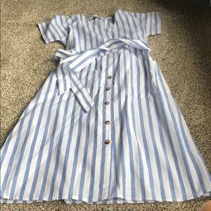 Blue white striped midi dress Shein size small